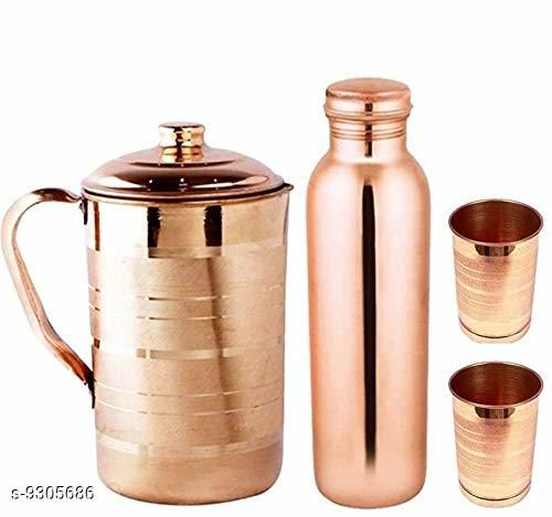 copper jug 2000ml with 950ml copper bottle and 2 copper glass 300ml each