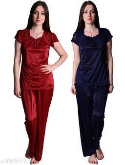 Senslife® Women's Satin Nightwear Sleepwear Night Suit Top & Pajama Set Combo Set Pack of 2 (Maroon & Navy Blue)