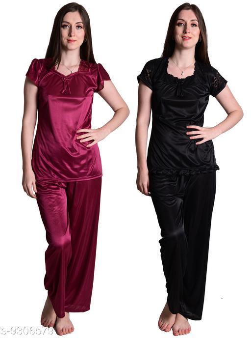 Senslife® Women's Satin Nightwear Sleepwear Night Suit Top & Pajama Set Combo Set Pack of 2 (Wine & Black)