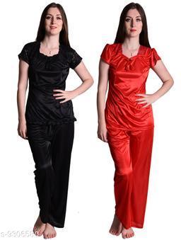 Senslife® Women's Satin Nightwear Sleepwear Night Suit Top & Pajama Set Combo Set Pack of 2 (Red & Black)