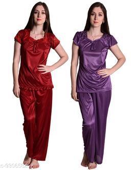 Senslife® Women's Satin Nightwear Sleepwear Night Suit Top & Pajama Set Combo Set Pack of 2 (Purple & Maroon)