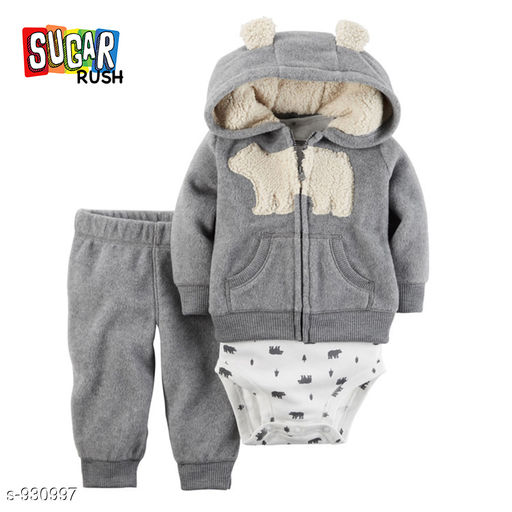 Rompers Trendy Baby Boy's Clothing Set  *Fabric* Cotton  *Sleeves* Full Sleeves Are Included  *Size* Age Group (3 Months - 6 Months) - Top Wear (Bust) - 28 cm, Length - 30 cm, Bottom Wear - Length - 37.5 cm, Dress - (Bust) - 20 cm, Length - 42 cm Age Group (6 Months - 9 Months) - Top Wear (Bust) - 29 cm, Length - 31,5 cm, Bottom Wear - Length - 40 cm, Dress - (Bust) - 21 cm, Length - 44 cm  Age Group (9 Months - 12 Months) - Top Wear (Bust) - 30 cm, Length - 33 cm, Bottom Wear - Length - 42.5 cm, Dress - (Bust) - 22 cm, Length - 46 cm Age Group (15 Months - 18 Months) - Top Wear (Bust) - 31 cm, Length - 34.5 cm, Bottom Wear - Length - 45 cm, Dress - (Bust) - 23 cm, Length - 48 cm Age Group (21 Months - 24 Months) - Top Wear (Bust) - 32 cm, Length -36 cm , Bottom Wear - Length - 47.5 cm, Dress - (Bust) - 24 cm, Length - 50 cm  *Type* Stitched  *Description* It Has 1 Piece Of Romper, 1 Piece Of Hoodie with Bottom  *Work* Hoodie - Printed, Bottom - Solid  *Sizes Available* 3-6 Months, 6-9 Months, 9-12 Months, 12-18 Months, 18-24 Months   Catalog Rating: ★3.7 (11) Supplier Rating: ★3.8 (123349) SKU: AHA06692 (1) Free shipping is available for this item. Pkt. Weight Range: 200  Catalog Name: Elite Trendy Boy's Romper's Vol 3 - Harrison International Code: 839-930997--