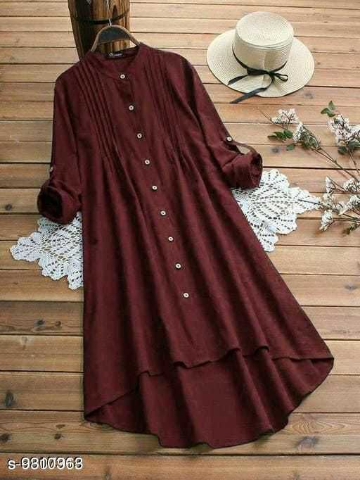 Fancify designed Maroon Buttoned A-line Rayon Stylish Top for Women