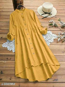 Fancify designed Mustard Buttoned A-line Rayon Stylish Top for Women