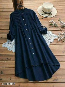 Fancify designed Navy Blue Buttoned A-line Rayon Stylish Top for Women