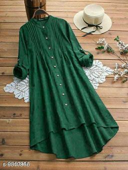 Fancify designed Green Buttoned A-line Rayon Stylish Top for Women