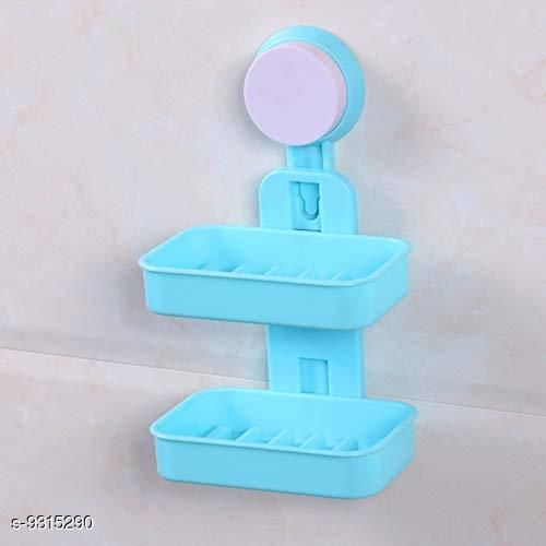 Double Layer Soap Box Suction Cup Holder Rack Bathroom Shower Soap Dish Hanging Tray Wall Holder Storage Holders (Color May Vary)