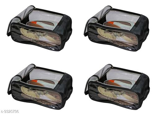 Quick Organiser Fabric Shoe Cover Travelling Storage Bag Footwear Wardrobe Organizer Pouch Black Pack of 4