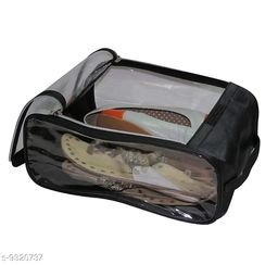 Quick Organiser Fabric Shoe Cover Travelling Storage Bag Footwear Wardrobe Organizer Pouch Black Pack of 1