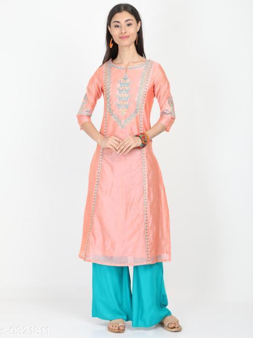 Women's Chanderi Silk Peach Straight Embroidered Kurti