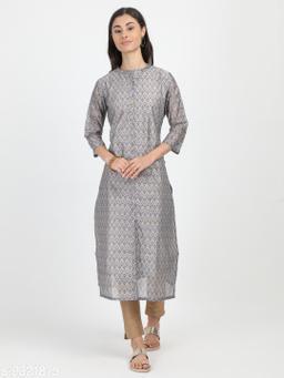 Women's Chanderi Silk Grey Straight Printed Kurti