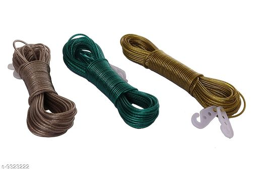 20 Meter PVC Coated Steel Anti-Rust Wire Rope Washing Line Clothesline with 2 Plastic Hooksset of 3