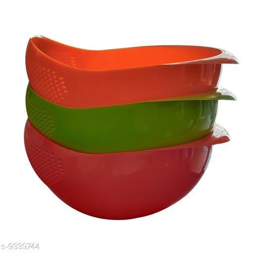 Rice, Fruit, Vegetable Washing Bowl Strainer,Colander(Multicolour Pack of 3)
