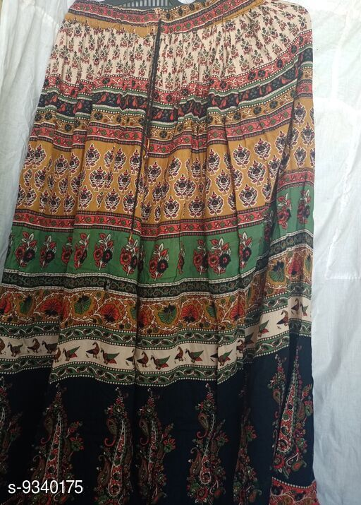 Ethnic Bottomwear - Skirts Trendy Women's Skirt  *Fabric* Rayon  *Pattern* Printed  *Multipack* 1  *Sizes*  Free Size   *Sizes Available* Free Size *    Catalog Name: Trendy Women's Skirt CatalogID_1633475 C74-SC1013 Code: 014-9340175-