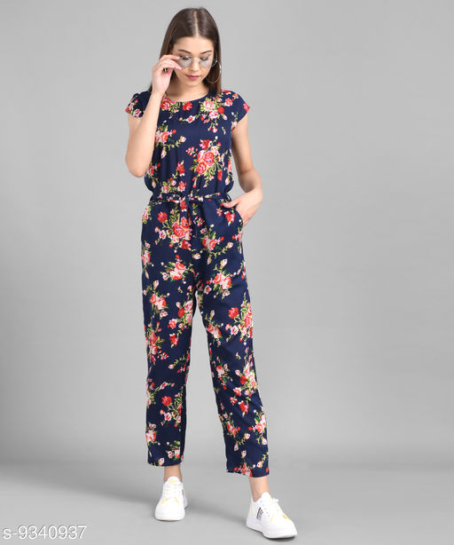 Elizy Women Nevy Blue Floral Printed Front Knot Jumpsuits