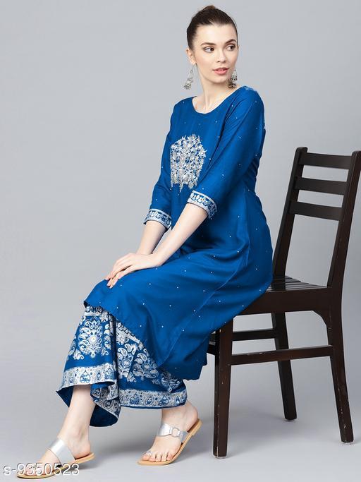 Women Viscose Rayon Anarkali Embroidered Long Kurti With Palazzos