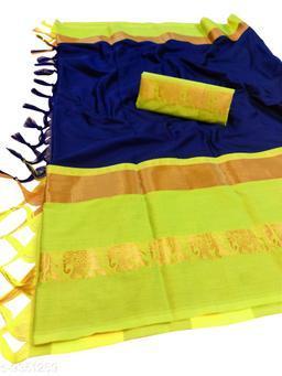 Rajawadi Elegant Elephant Design Cotton Silk Saree (Navy & Neon)