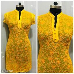 Women Georgette Chikankari Yellow Kurti