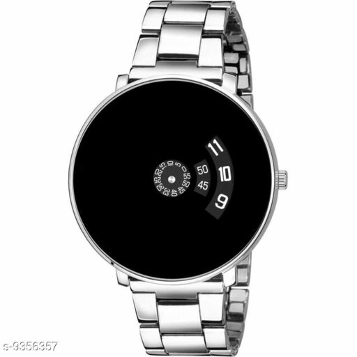 PAIDU BLACK Men's and  Boy's Quartz Watch with Analogue Display and Stainless Steel StraP