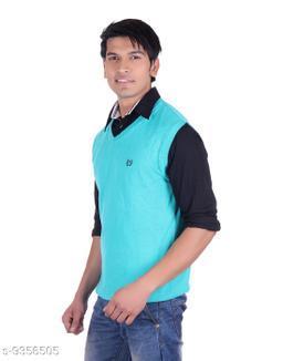 Ogarti cotton Men's V Neck S Green Sleeveless Sweater