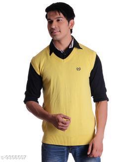 Ogarti cotton Men's V Neck Lemon Sleeveless Sweater