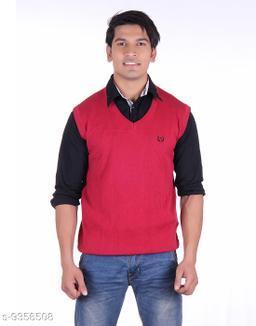 Ogarti cotton Men's V Neck Red Sleeveless Sweater