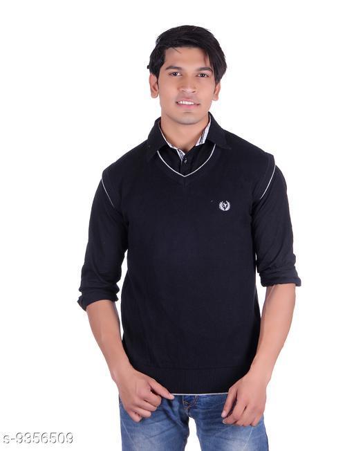 Ogarti cotton Men's V Neck Black Sleeveless Sweater