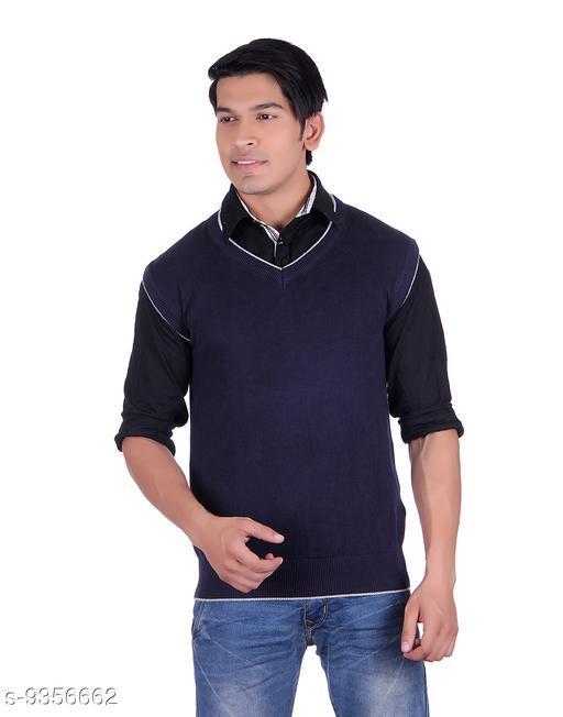 Ogarti cotton Men's V Neck Navy Sleeveless Sweater