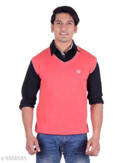 Ogarti cotton Men's V Neck Orange Sleeveless Sweater