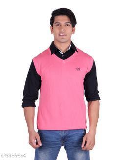 Ogarti cotton Men's V Neck Pink Sleeveless Sweater