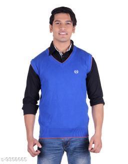 Ogarti cotton Men's V Neck Royal Blue Sleeveless Sweater