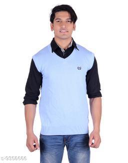 Ogarti cotton Men's V Neck Sky Sleeveless Sweater