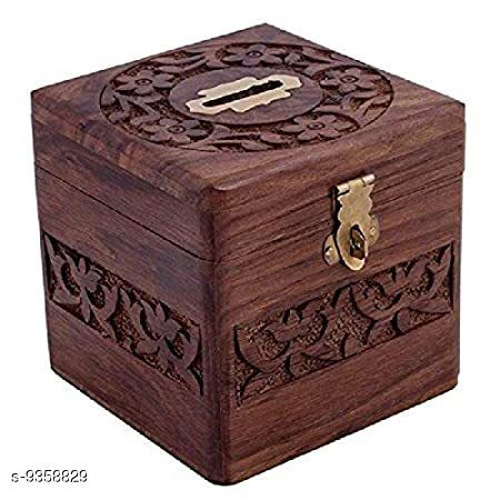 Wooden Carving Coin Bank