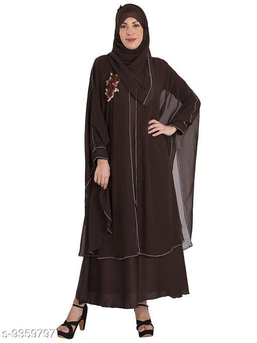 Abaya Binish Women's Abaya Burkha Floral Patch Farasha with Dupatta.  *Fabric* Polyester  *Sleeve Length* Long Sleeves  *Pattern* Self-Design  *Multipack* 1  *Sizes*   *Free Size (Bust Size* 44 in, Length Size  *Sizes Available* Free Size *    Catalog Name: Fancy Women Abayas & Coats CatalogID_1639067 C74-SC1449 Code: 7451-9359797-