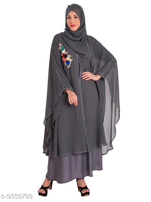 Abaya Binish Women's Abaya Burkha Floral Patch Farasha with Dupatta.  *Fabric* Polyester  *Sleeve Length* Long Sleeves  *Pattern* Self-Design  *Multipack* 1  *Sizes*   *Free Size (Bust Size* 44 in, Length Size  *Sizes Available* Free Size *    Catalog Name: Fancy Women Abayas & Coats CatalogID_1639067 C74-SC1449 Code: 7451-9359799-