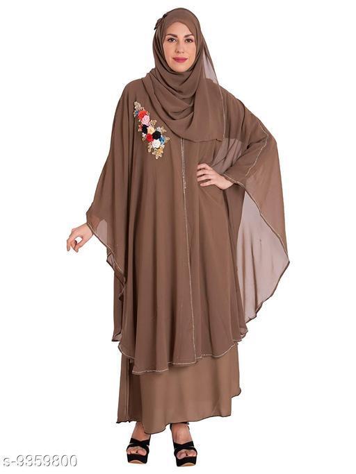 Abaya Binish Women's Abaya Burkha Floral Patch Farasha with Dupatta.  *Fabric* Polyester  *Sleeve Length* Long Sleeves  *Pattern* Self-Design  *Multipack* 1  *Sizes*   *Free Size (Bust Size* 44 in, Length Size  *Sizes Available* Free Size *    Catalog Name: Fancy Women Abayas & Coats CatalogID_1639067 C74-SC1449 Code: 7451-9359800-