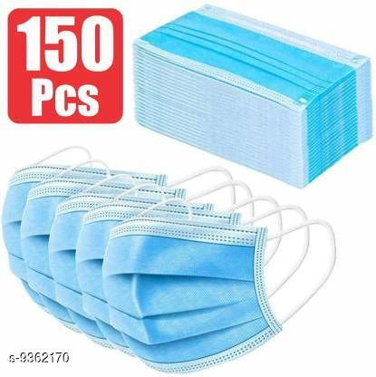 Home Streak Surgical Mask With Melt Blown Fabric Layer  (Blue, Free Size, Pack of 150, 3 Ply)