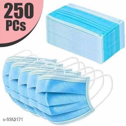 Home Streak Surgical Mask With Melt Blown Fabric Layer  (Blue, Free Size, Pack of 250, 3 Ply)