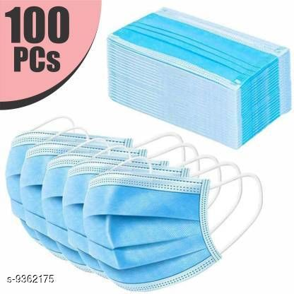 Home Streak Surgical Mask With Melt Blown Fabric Layer  (Blue, Free Size, Pack of 100, 3 Ply)