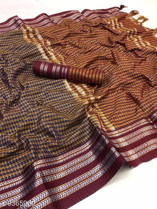 Woven  Cotton Blend Saree With Unstitched Blouse Piece