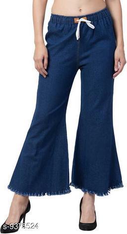 Ira Premium Joggers Flared Dark Blue Jean For Women
