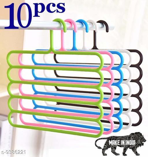 Organiser Wardrobe Storage 5 Layer Hanger for Shirts, Pants, Skirts  (Set of 10, MultiColor )