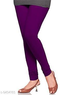 Infinitywoug Solid Premium Cotton Lycra Four Way Stretchable Churidar Leggings for Women (Purple)