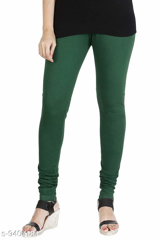 Infinitywoug Solid Premium Cotton Lycra Four Way Stretchable Churidar Leggings for Women (Green)