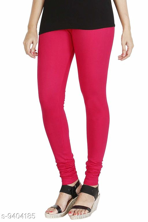 Infinitywoug Solid Premium Cotton Lycra Four Way Stretchable Churidar Leggings for Women (Pink)