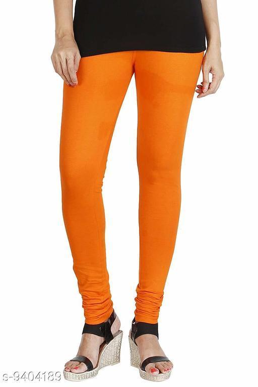 Infinitywoug Solid Premium Cotton Lycra Four Way Stretchable Churidar Leggings for Women (Orange)