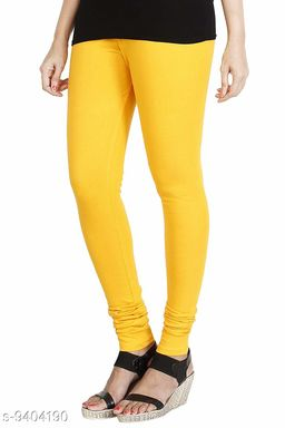 Infinitywoug Solid Premium Cotton Lycra Four Way Stretchable Churidar Leggings for Women (Yellow)