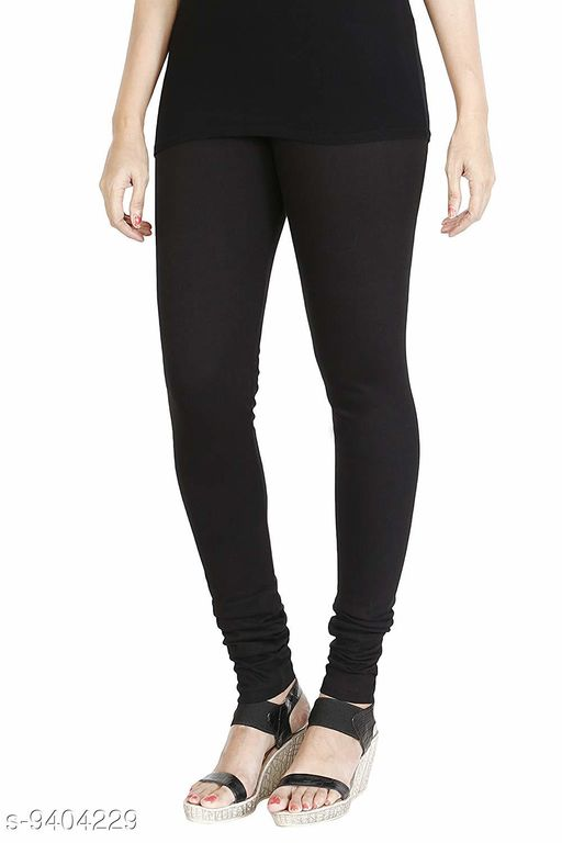 Infinitywoug Solid Premium Cotton Lycra Four Way Stretchable Churidar Leggings for Women (Black)