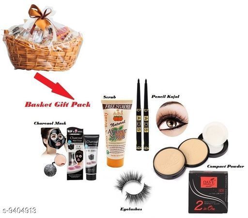 Basket Gift Pack Combo- Charcoal Cream Mask,ADS Apricot Scrub,ADS Black Pencil Kajal,Eyelashes,Dave 2 IN 1 Skin Finish Perfect Glow Compact
