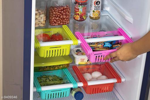 AMEEHA 4 Pcs Adjustable Kitchen Refrigerator Storage Rack Fridge Freezer Shelf Holder Pull-Out Drawer Organizer Space Saver Trays